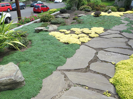 Ground hugging perennials and flat boulders - Boulders & Rock In The Garden Precision Landscape Services