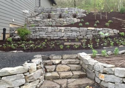 Basalt cobblestone wall and fire pit